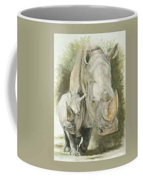 White Rhino Coffee Mug featuring the mixed media Colossal by Barbara Keith