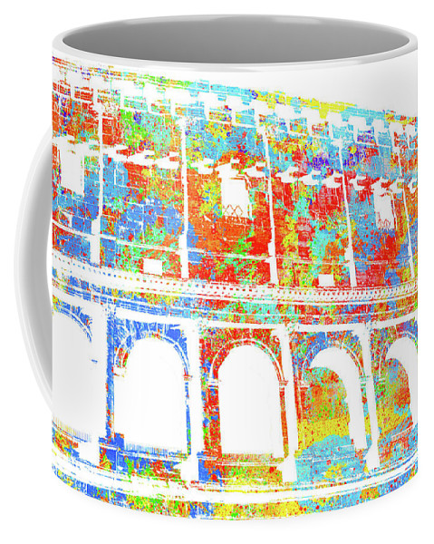 Italy Coffee Mug featuring the digital art Colosseum - Colorsplash by Andrea Mazzocchetti