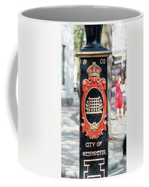 16x9 Coffee Mug featuring the photograph Colourful Lamp Post With The City Of Westminster Coat Of Arms London by Jacek Wojnarowski