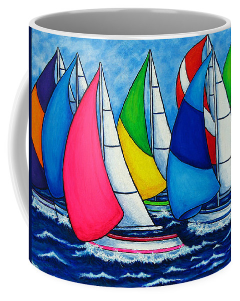 Boats Coffee Mug featuring the painting Colourful Regatta by Lisa Lorenz