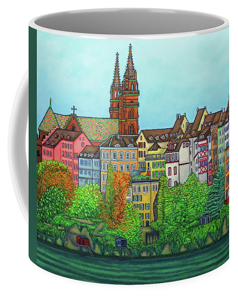 Lisa Lorenz Coffee Mug featuring the painting Basel, Colours of Basel by Lisa Lorenz