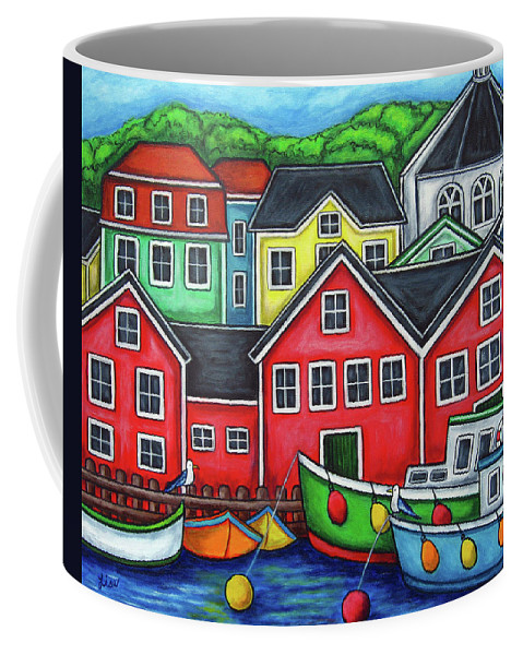 Nova Scotia Coffee Mug featuring the painting Colours of Lunenburg by Lisa Lorenz