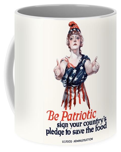 Columbia Coffee Mug featuring the painting Columbia Invites You To Save Food by War Is Hell Store