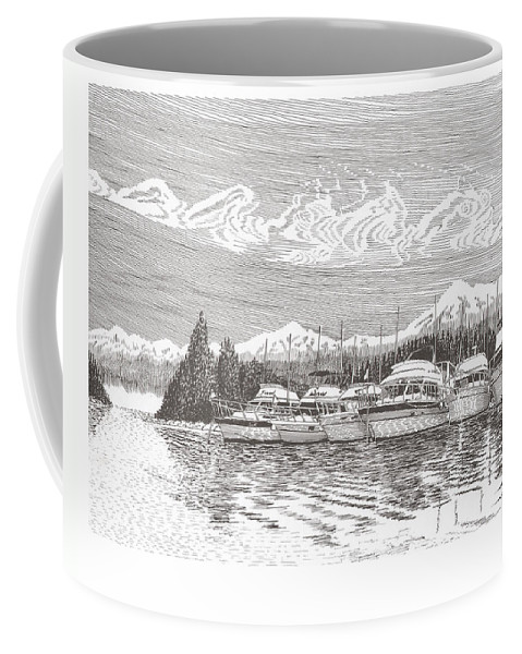 Marine Paintings Marine Art. Canvas Prints Of Boats. Prints Of Boats. Prints Of Waterfront Art. Canvas Prints Of Yachts. Framed Marine Transportation Art Coffee Mug featuring the drawing Columbia River Raft Up by Jack Pumphrey