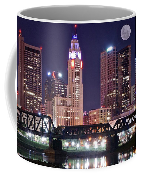 Columbus Coffee Mug featuring the photograph Columbus By Moonlight by Frozen in Time Fine Art Photography