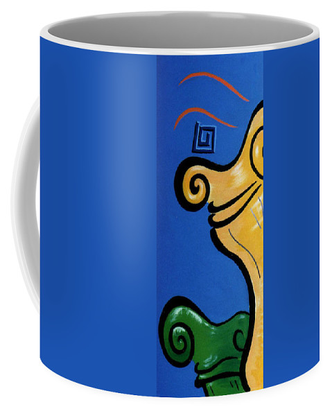 Coffee Mug featuring the painting Columns Left Side by Catt Kyriacou