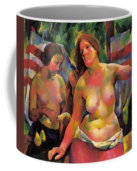 Painting Coffee Mug featuring the painting Combing by Mountain Dreams