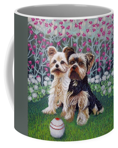 Dogs Coffee Mug featuring the painting Come Play with ME by Minaz Jantz