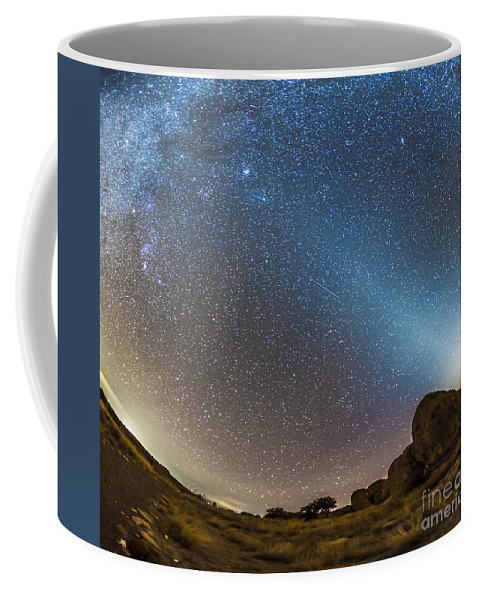 C/2014 Q2 Coffee Mug featuring the photograph Comet Lovejoy And Zodiacal Light by Alan Dyer