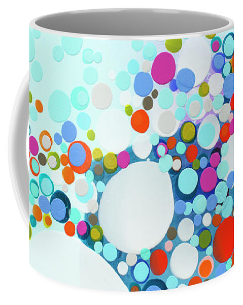 Abstract Coffee Mug featuring the painting Comfortable In Chaos by Claire Desjardins