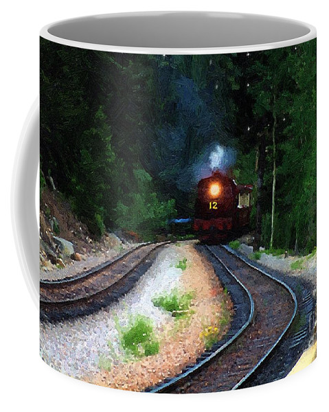 Americana Coffee Mug featuring the painting Comin Round The Bend by RC DeWinter