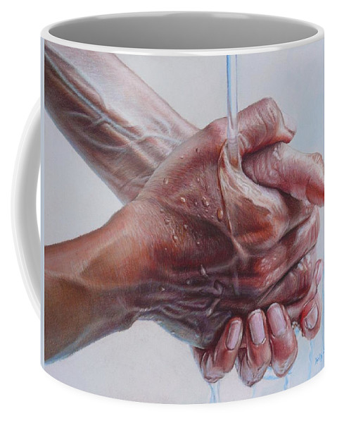 Hands Coffee Mug featuring the drawing Coming Clean by Holly Bedrosian