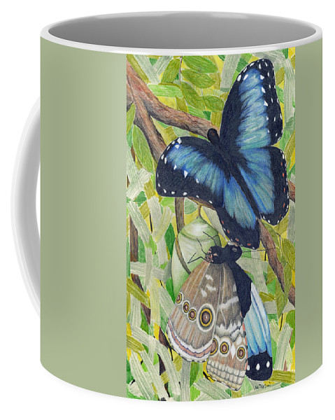 Butterfly Coffee Mug featuring the painting Coming Out by Mary Tuomi