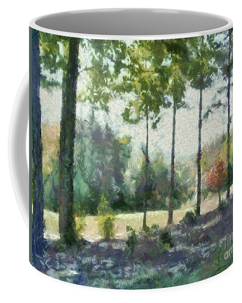 Homestead Coffee Mug featuring the painting Coming Out Of The Woods by Paulette B Wright