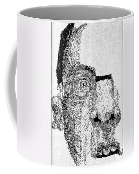 Swimmer Coffee Mug featuring the drawing Coming Up For Air by Jean Haynes