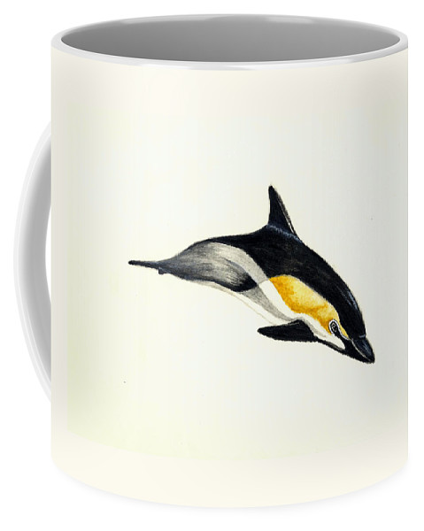 Dolphin Coffee Mug featuring the painting Common Dolphin by Michael Vigliotti