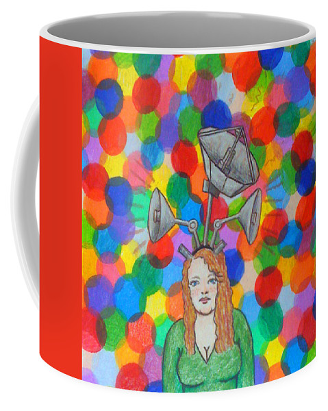 Color Coffee Mug featuring the drawing Communicating Through Color by Jean Haynes