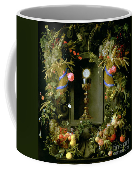Communion Coffee Mug featuring the painting Communion Cup And Host Encircled With A Garland Of Fruit by Jan Davidsz de Heem