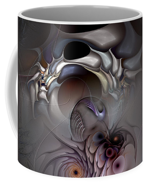 Abstract Coffee Mug featuring the digital art Compartmentalized Delusion by Casey Kotas