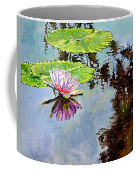 Water Lily Coffee Mug featuring the painting Composition Of Beauty by John Lautermilch