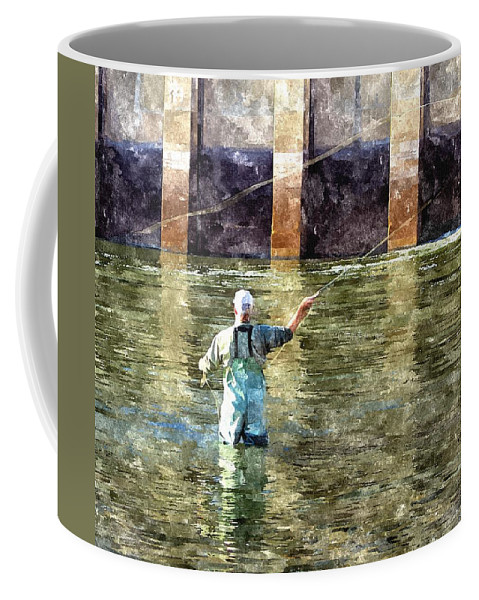 Fly Fishing Coffee Mug featuring the digital art Concentration by Harry Tart