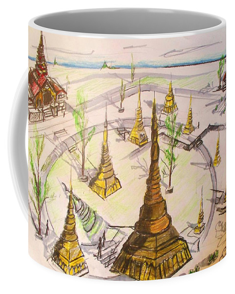 Concept Coffee Mug featuring the drawing Concept Drawing by Eric Schiabor