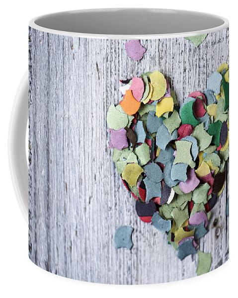 Heart Coffee Mug featuring the photograph Confetti Heart by Nailia Schwarz