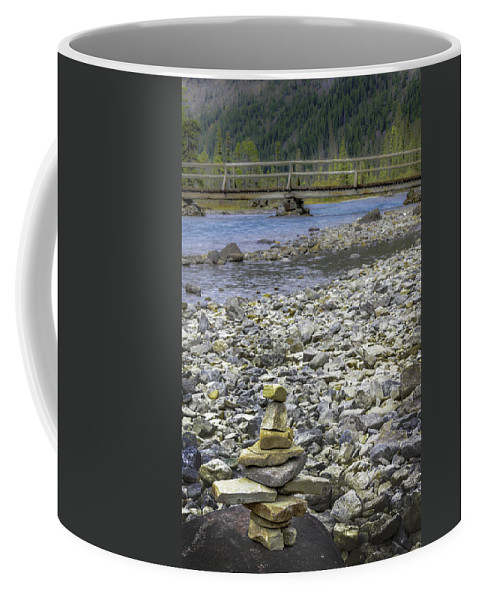 River Coffee Mug featuring the photograph Confounded Bridge by Joseph Yvon Cote