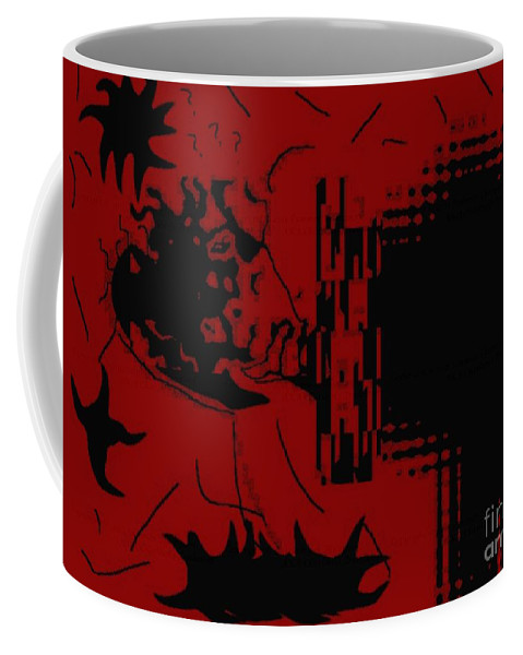 Red Coffee Mug featuring the digital art Confusion by Charleen Treasures