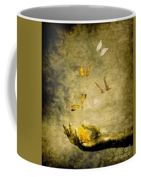 Inspirational Coffee Mug featuring the painting Connect by Jacky Gerritsen