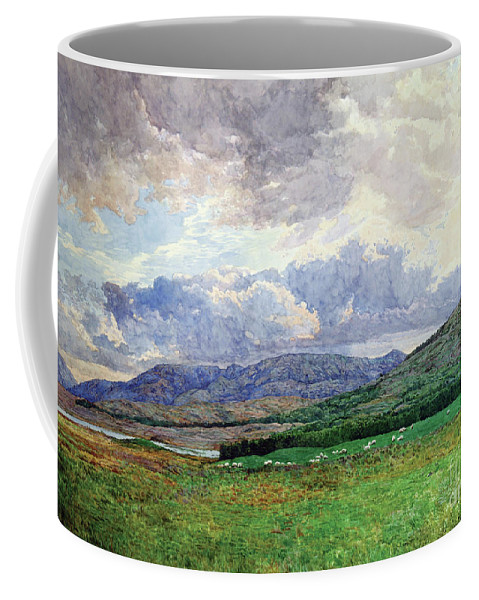 Landscape Coffee Mug featuring the painting Connemara Mountains by Simon Kozhin