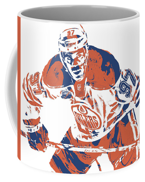 Connor Mcdavid Coffee Mug featuring the mixed media Connor Mcdavid Edmonton Oilers Pixel Art 1 by Joe Hamilton
