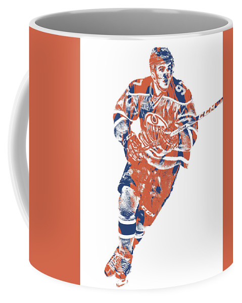 Connor Mcdavid Coffee Mug featuring the mixed media Connor Mcdavid Edmonton Oilers Pixel Art 5 by Joe Hamilton