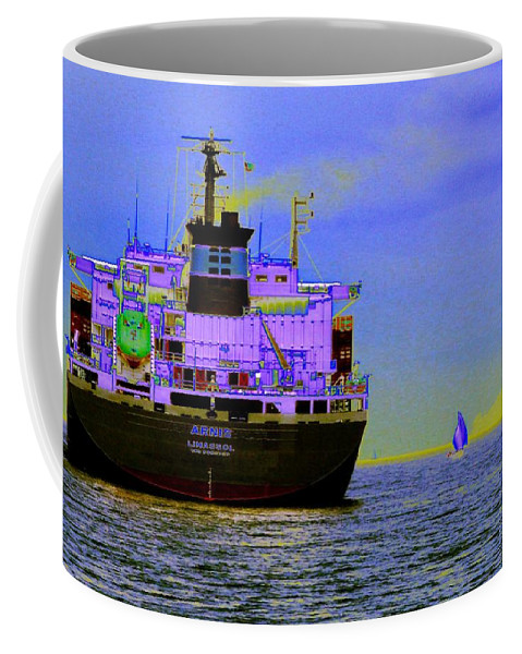 Seattle Coffee Mug featuring the photograph Container Sail by Tim Allen