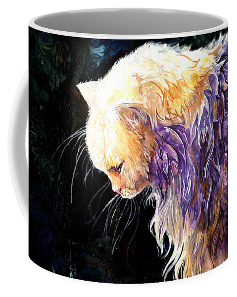 Cat Coffee Mug featuring the painting Contemplation by Sherry Shipley