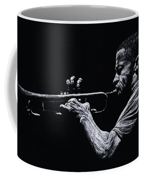 Musician Coffee Mug featuring the pastel Contemporary Jazz Trumpeter by Richard Young