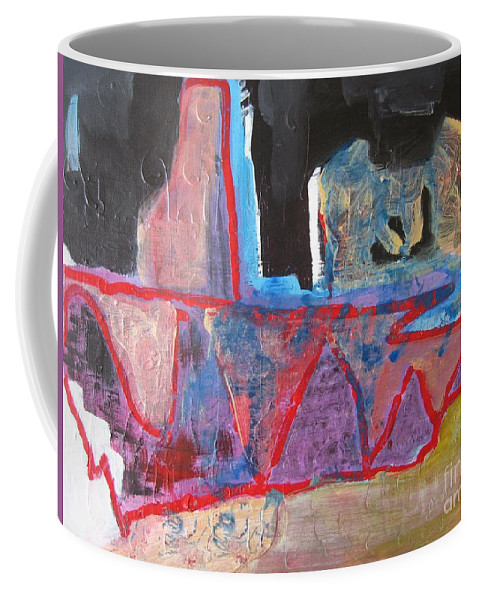 Abstract Paintings Coffee Mug featuring the painting Contradiction Of Time by Seon-Jeong Kim