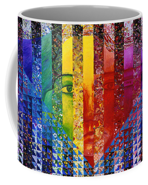 Colorful Coffee Mug featuring the mixed media Conundrum I - Rainbow Woman by Diane Clancy