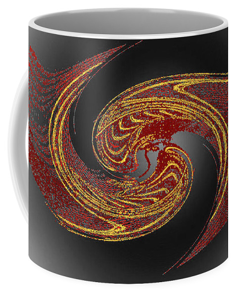 Red Coffee Mug featuring the digital art Convergence In Red And Gold by Don Quackenbush