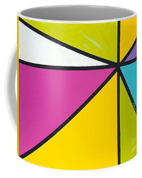 Lines Coffee Mug featuring the painting Convergence by Nadine Rippelmeyer
