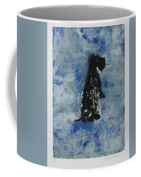 Monotype Coffee Mug featuring the mixed media Cool Blue by Cori Solomon
