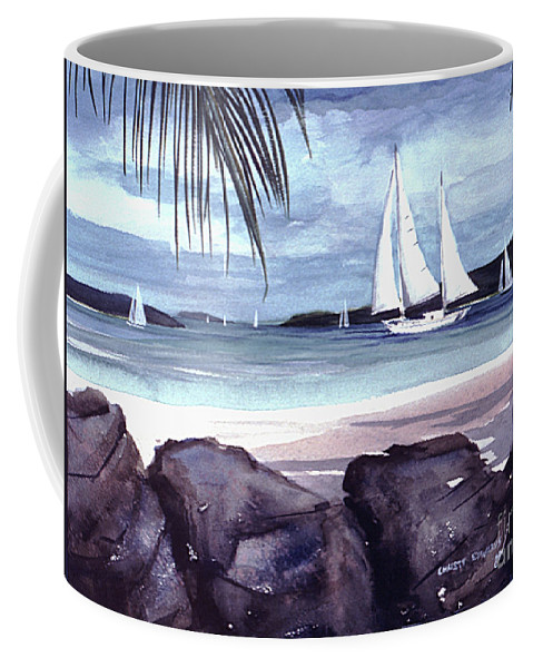 Sailboat Palms Rock Beach Sand Water Blue Coffee Mug featuring the painting Cool By The Rocks by Christy Edwards