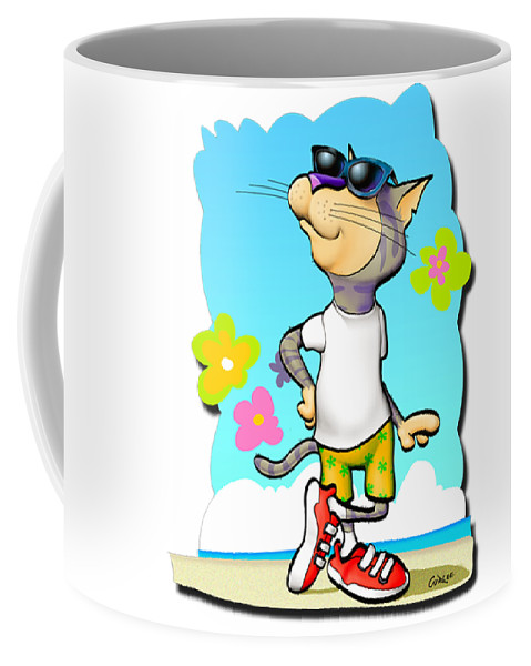 Cool Cat Coffee Mug featuring the digital art Cool Cat by Walt Curlee