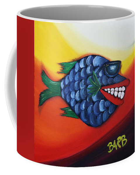 Ray Ban Coffee Mug featuring the painting Cool Dude by Barbara Teller
