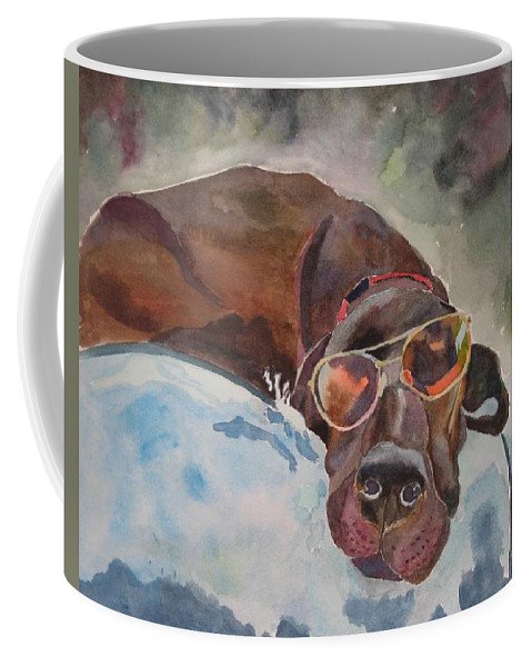 Dog Coffee Mug featuring the painting Cool Lab With Sunglasses by Brenda Kennerly