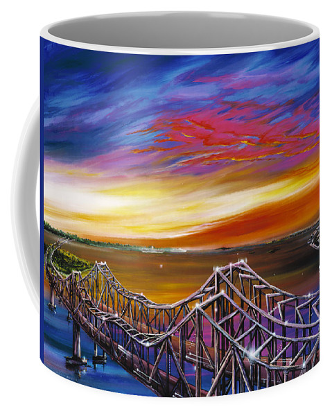 Clouds Coffee Mug featuring the painting Cooper River Bridge by James Christopher Hill