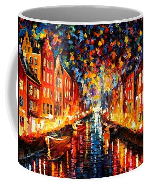 Afremov Coffee Mug featuring the painting Copenhagen by Leonid Afremov