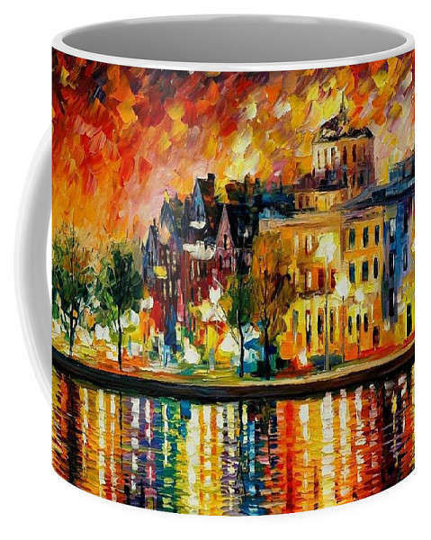 City Coffee Mug featuring the painting Copenhagen Original Oil Painting by Leonid Afremov