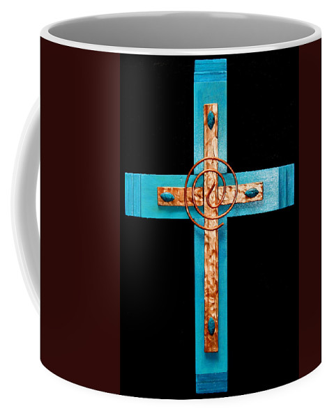 Copper Coffee Mug featuring the photograph Copper And Stone Cross by M Diane Bonaparte