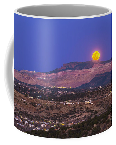 Full Moon Coffee Mug featuring the photograph Copper Moon Rising Over The Santa Rita by Alan Dyer